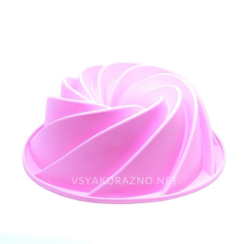 Силиконовая форма для выпечки спираль (Кекс, большой) цвет - розовый