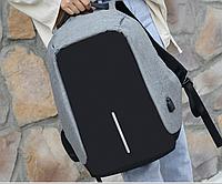 Городской рюкзак серый для ноутбука, учебы c USB 162. Защита от карманников.