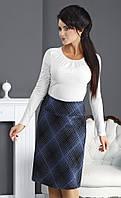 Женская классическая трикотажная юбка с рисунком клетка. Модель Gradia Top-Bis.