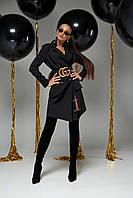 Стильное Платье-Пиджак Двубортное с Отложным Воротником Черное S-XL