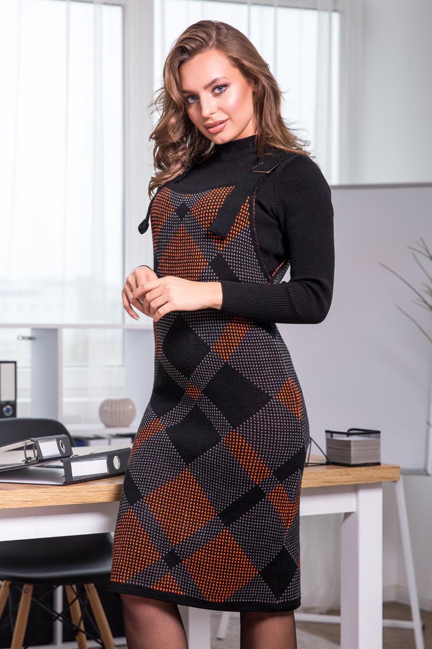 Платье-сарафан в клетку «Агата», (черный, терракот, графит)