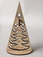 """Новогодний деревянный сувенир """"Семейная елка"""""""