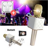 Беспроводной микрофон караоке bluetooth Q7 золото + Чехол