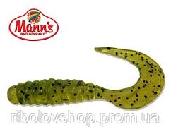 Силиконовая приманка Manns Twister 037 M-037 CHP салатовый прозрачный с черной точкой 55мм