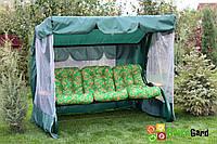Садовые дачные качели  3-х местные ТАИТИ с откидной спинкой и антимоскитной сеткой, подушки