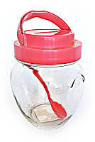 Банка стеклянная для хранения Everglass 1062 мл. с розовой пластиковой крышкой с ручкой и пластиковой ложкой.