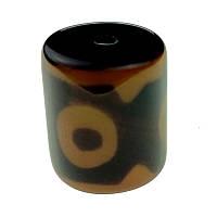 Бусина Дзи 3 глаза натруальный камень 1,5 см коричневая (C0965)