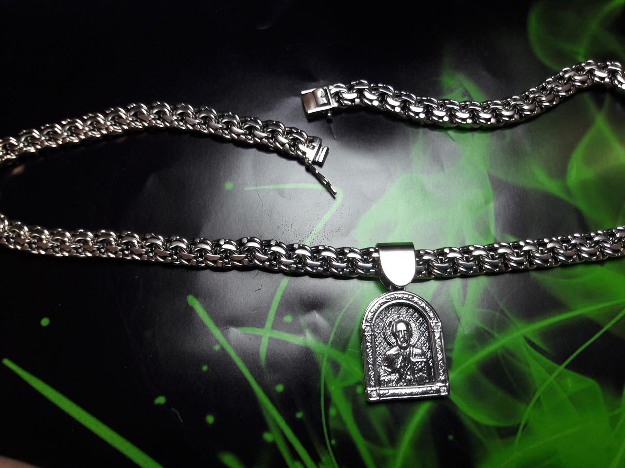 Серебряная цепочка с иконкой Св. Николая