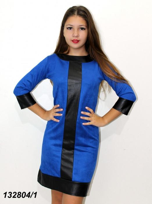 Платье с кожаными вставками 42 44 46