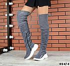 Зимние женские ботфорты серого цвета, натуральная замша 36 37 ПОСЛЕДНИЕ РАЗМЕРЫ, фото 2