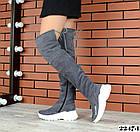 Зимние женские ботфорты серого цвета, натуральная замша 36 37 ПОСЛЕДНИЕ РАЗМЕРЫ, фото 4