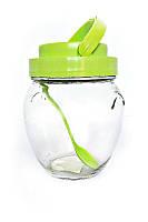 Банка стеклянная для хранения  Everglass 1062 мл. зеленая  пластиковая крышка с ручкой и пластиковая ложка.