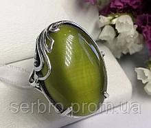 Кольцо в серебре с зеленым камнем улексит Монсерат