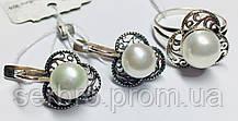 Серьги и кольцо с жемчугом серебро Жюстин