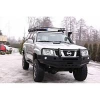 Бампер передний с кенгурятником для Nissan Patrol Y61 GU4 (2005-2009)