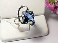 Кольцо с синим камнем серебро Эпл