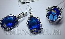 Гарнитур в серебре с большим синим камнем Ностальгия