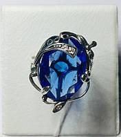 Серебряное кольцо с большим синим камнем Ностальгия
