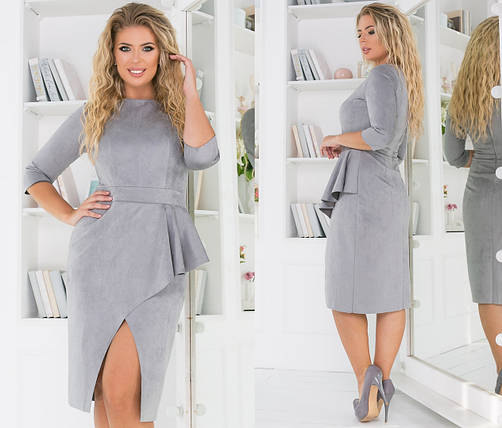 """Облегающее замшевое миди-платье """"Шопен"""" с баской и разрезом (большие размеры), фото 2"""