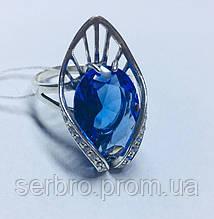 Кольцо с синим цирконом в серебре Элизабет