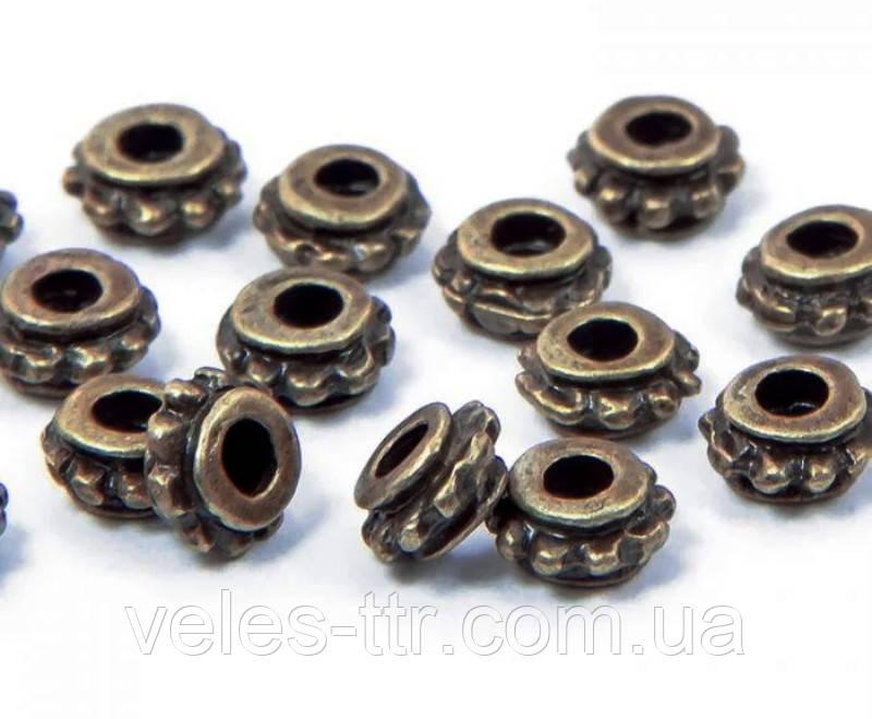 Бусина разделитель металлическая Рондель бронза 5,5х3,5 мм