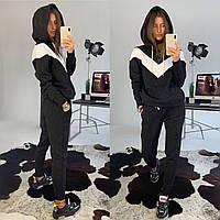 Костюм женский теплый на флисе стильный свитшот с капюшоном и брюки DМ2019