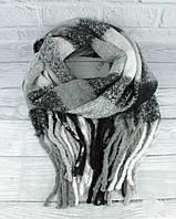 Объемный мохеровый шарф-плед, палантин Ginoer 7780-5 клетка, расцветки, фото 1