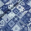 Тканина новорічна зі сніжинками, оленями, ялинками в синіх квадратів, ширина 160 см