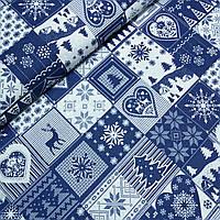 Тканина новорічна зі сніжинками, оленями, ялинками в синіх квадратів, ширина 160 см, фото 1