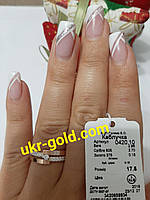 Кольцо серебряное 925 пробы со вставками золота