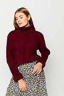 Женский бордовый свободный свитер с косами, фото 1