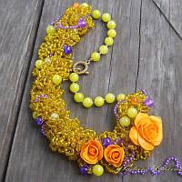 Колье из бисера с цветами, фото 1