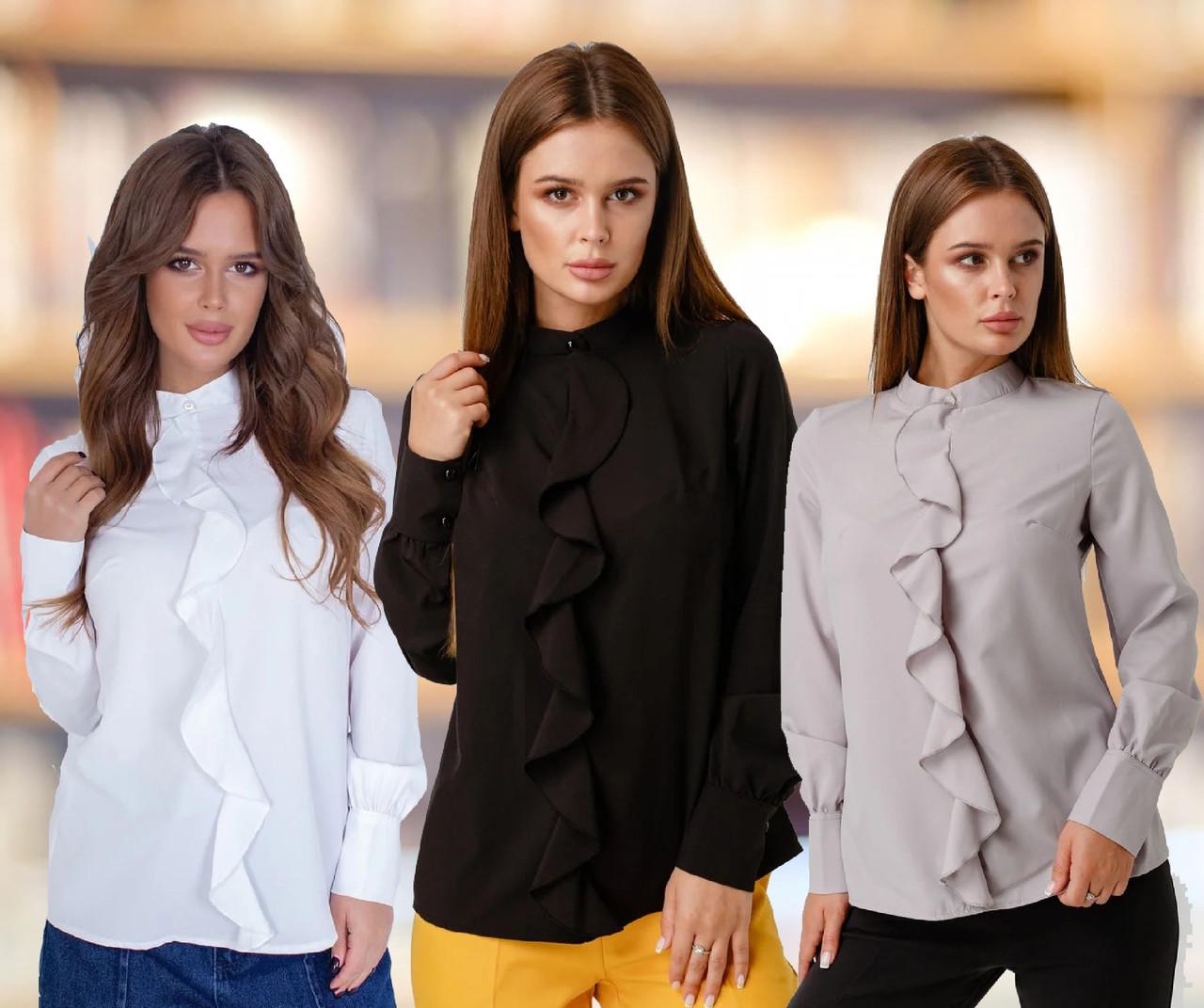 Женская блуза с длинными рукавами /разные цвета, 40-48, LL-018/