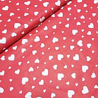 Ткань с белыми сердечками на красном фоне, ширина 160 см