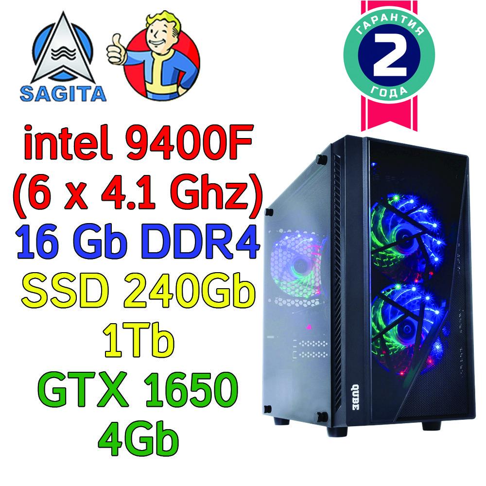 Игровой компьютер / ПК  ( intel i5-9400F(6 x 4.1GHz) / B360 / 16Gb DDR4 / SSD 240 +1 Tb / GTX 1650 4Gb / 500W)