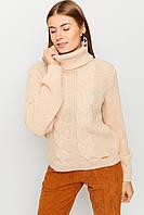 Кремовый женский свитер с высоким воротником, фото 1
