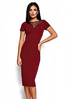 (S, M, L, XL) Облягаюче марсалове класичне плаття