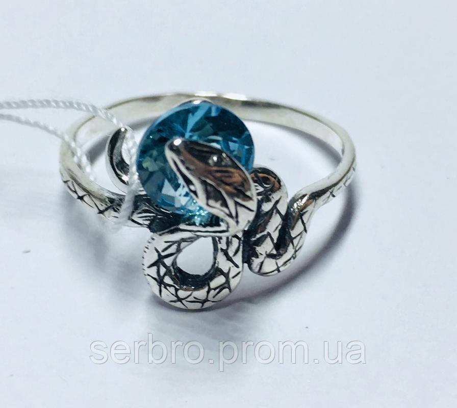 Серебряное кольцо с голубым цирконом Змейка