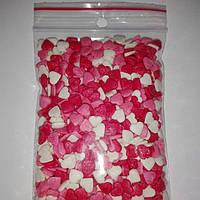 Посыпка кондитерская, сердечки красно- белые - розовые
