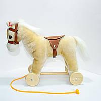 🔝 Деревянная плюшевая лошадка на колесиках, Светлокоричневая, лошадь на колесах детская, Высота - 30 см 🎁%🚚