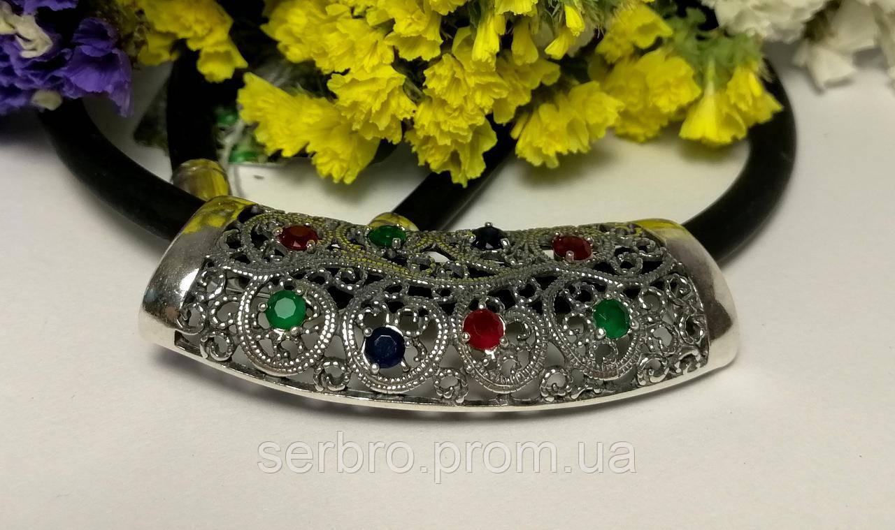 Срібне кольє з каучуку з різнобарвним цирконом Касабланка