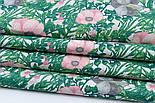 """Лоскут ткани """"Анемоны розовые и серые с зелёными ветками"""" на белом (№1837), размер 38*78 см, фото 5"""