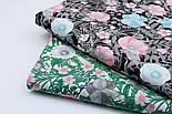 """Лоскут ткани """"Анемоны розовые и серые с зелёными ветками"""" на белом (№1837), размер 38*78 см, фото 7"""
