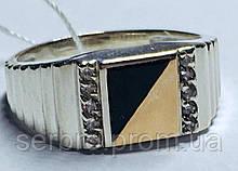 Серебряная мужская печатка с оником и золотом Мел