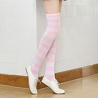 Яркие гетры разных расцветок гольфы выше колена веселые чулки розовые  Код 09-01024