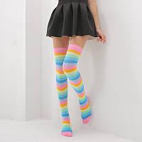 Яркие гетры разных расцветок гольфы выше колена веселые чулки радуга светлая  Код 09-01035