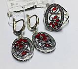Срібний набір з червоним цирконом Флоренція, фото 3