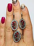 Срібний набір з червоним цирконом Флоренція, фото 4