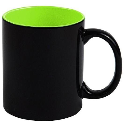 Кружка «Хамелеон» черная глянцевая, внутри Зеленая