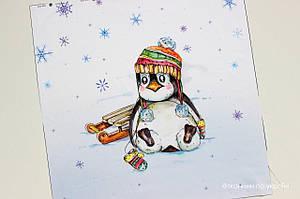 Панелька сатин Пингвин зимний 40*40